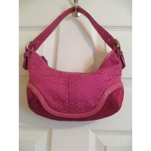 Coach Pink Signature Logo Small Soho Hobo Small